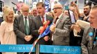 Mayor Martin Walsh of Boston Center and chief executive Paul Marchant cut a ceremonial ribbon watched by Alma Ryan and husband Arthur Ryan, founder of Penney's, at the opening of the first Primark store in the US. Photograph: Josh Reynolds