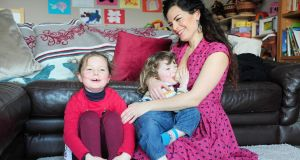 Fiona Mulcahy and her children Luna and Glen Óg at home in Portarlington, Co Laois. Photograph: James Flynn/APX