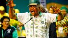 Outgoing ANC president Jacob Zuma dances on stage during the ANC National Conference held in Johannesburg earlier this month. Photograph: Kim Ludbrook/EPA