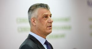 "Kosovo's president Hashim Thaci described the court as a ""historic injustice"" against members of Kosovo's ethnic Albanian majority. Photograph: Armend Nimani/AFP/Getty Images"