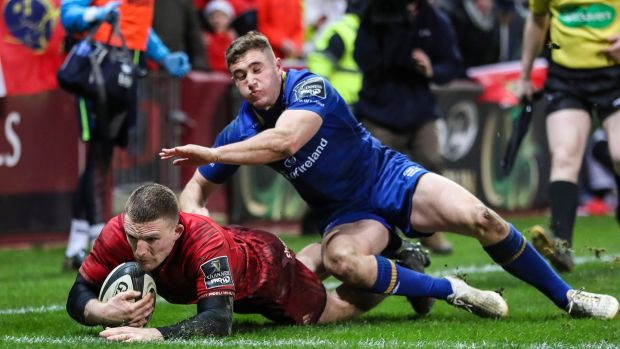 Former Blackrock College schoolboy Leinster player Andrew Conway scoring a try against his native province for Munster at Thomond Park last week. Photograph: Billy Stickland/Inpho