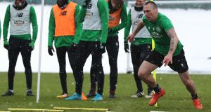Scott Brown of Celtic at a training session at Lennoxtown. Photograph: Ian MacNicol/Getty Images