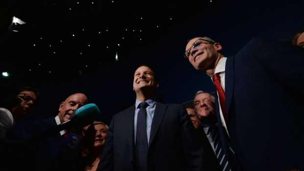 Fine Gael battle: Leo Varadkar and Simon Coveney at the leadership-election count. Photograph: Alan Betson