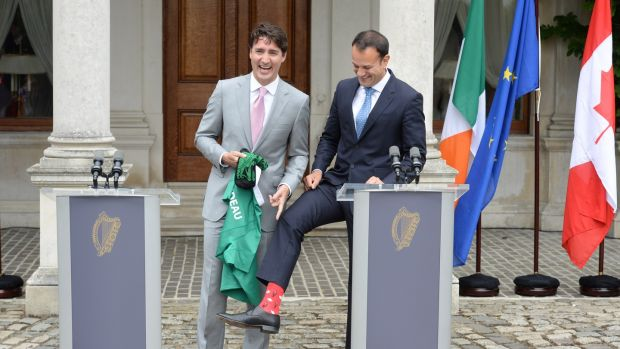 So what?: Leo Varadkar swaps socks with Justin Trudeau, the Canadian PM. Photograph: Dara Mac Dónaill
