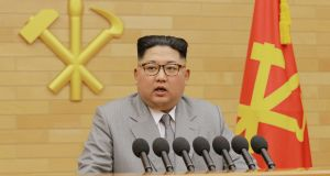 North Korea's leader Kim Jong-un speaks during a New Year's Day address. Photograph: KCNA/Reuters