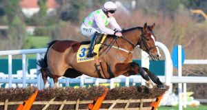 Faugheen and Paul Townend before pulling up during the Ryanair Hurdle at Leopardstown last week. Photograph:  PA Wire