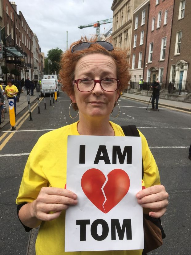 Jenni Ledwell at the Tom Power protest at the Dáil