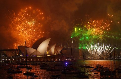 Fireworks explode over Sydney Harbour during New Year's Eve celebrations in Sydney to welcome in the year 2018. Photo: EPA/DAVID MOIR
