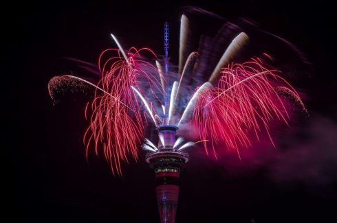 Fireworks from the Sky Tower in Auckland, New Zealand ring in the New Year. Photo: Dave Rowland Getty Images