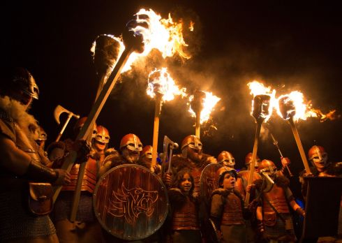 Vikings get ready to lead a Torchlight Procession in Edinburgh, which marks the opening of Edinburgh's New Year celebrations. Photo: David Cheskin/PA Wire