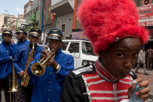 Some of the thousands of performers parade through the streets as part of the annual Joburg Carnival, in Johannesburg, South Africa, 31 December 2017.  EPA/STR