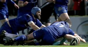 Matt Healy reaches to score for Connacht in their 21-18 defeat to Leinster at the RDS. Photograph: Bryan Keane/Inpho