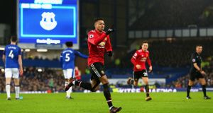 Jesse Lingard celebrates scoring Manchester United's second against Everton. Photograph: Jan Kruger/Getty