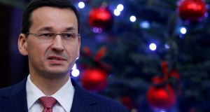 Poland's prime minister Mateusz Morawiecki first bilateral visit aims to deepen ties to Viktor Orban's regime. Photograph: Kacper Pempel/Reuters