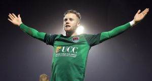 Kevin O'Connor celebrates scoring for Cork City against Dundalk in the 2017 President's Cup. File photograph: Ryan Byrne/Inpho