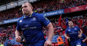 Jack McGrath leading his team out as Leinster captain against Munster: 'It was a massive honour and a bit of a surprise to be honest.' Photograph: Dan Sheridan/Inpho