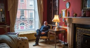 David Norris in one of the reception rooms of his restored Georgian home. Norris was the winner of Celebrity Home of the Year 2017. Photograph: Ruth Medjber