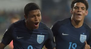 Rhian Brewster after scoring against USA in the Under-17 World Cup. Photograph: Indranil Mukherjee/Getty