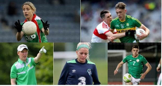 Sports (clockwise from above): Cora Staunton, David Clifford in action with the Kerry minors, Declan Rice, Denise O'Sullivan and Gavin Moynihan. Photograph: Inpho