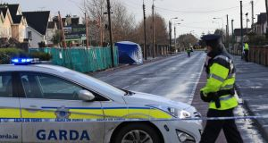 Gardaí seal off the scene of a fatal stabbing on Avenue Road, Dundalk on Wednesday morning. Photograph:  Colin Keegan/Collins