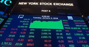 Wall Street's main indexes hit records on Wednesday, with the benchmark S&P 500 index breaching the 2,700-mark for the first time. Photograph: Bryan R Smith/Getty Images