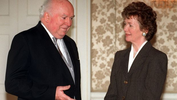Donal Barrington pictured with former president Mary Robinson after being appointed as a Supreme Court judge. Photograph: Alan Betson