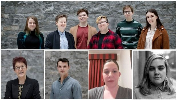 Activism (from main pic): Youth Advisory Group members Katie McCabe, Seamus Byrne, Ayrton Kelly, Jayson Pope, Tara Killeen and Niamh Scully. Bottom left to right: Ailbhe Smyth, Robbie Lawlor, Selina Hogan and Grace Dyas.