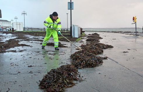 The clean-up after Eleanor by Galway City Council on the Salthill Promenade. Photograph: Joe O'Shaughnessy