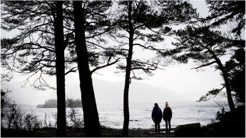 Walkers survey a high swell on Lough Leane near Ross Castle in Killarney hours after the worst of storm Eleanor. Photograph: Bryan O'Brien/The Irish Times