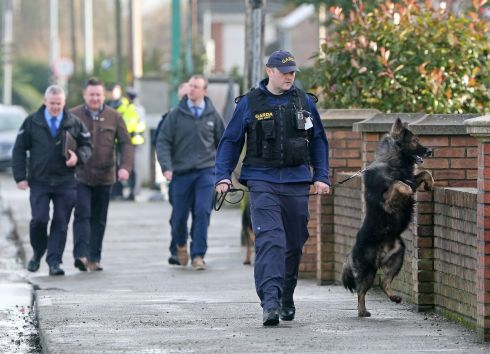 Members of the Garda Dog Unit and officers at the scene of a fatal attack on Avenue Road, Dundalk this morning. Photograph: Colin Keegan/Collins
