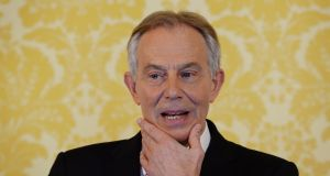 "Former British prime minister Tony Blair: ""The point I am really making is that the Northern Ireland problem is just a metaphor for the problem of the whole negotiation."" Photograph: Stefan Rousseau/PA Wire"