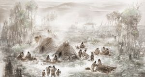 An illustration depicts the Upward Sun River base camp site in central Alaska, where the 11,500-year-old remains of a 6-week-old girl were discovered in 2013. Photograph: Eric S. Carlson and Ben Potter/Handout via Reuters