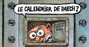 "The cover of Charlie Hebdo's first issue of 2018 features a cartoon in which a fearful face peers through a peephole in a bolted steel door. ""The Islamic State calendar?"" the character asks, referring to the French tradition of selling new-year calendars door to door."