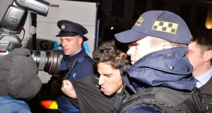 Mohamed Morei (18), being brought into Dundalk District Court this evening where he was charged with the murder of a Japanese national. Photograph: Alan Betson/The Irish Times