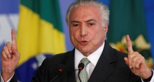 Brazil's president, Michel Temer, whose pensions reform plan, already heavily watered down since it was unveiled a year ago, was last week all but abandoned. Photograph: Adriano Machado/Reuters