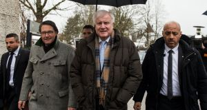Bavarian Prime Minister and head of the Christian Social Union (CSU) party Horst Seehofer arrives at Kloster Seeon. Photograph: Lukas Barth/EPA