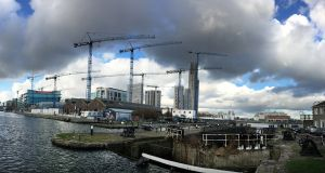 Construction in the Grand Canal Basin area of Dublin Docklands in 2017. Photograph: Bryan O'Brien/The Irish Times