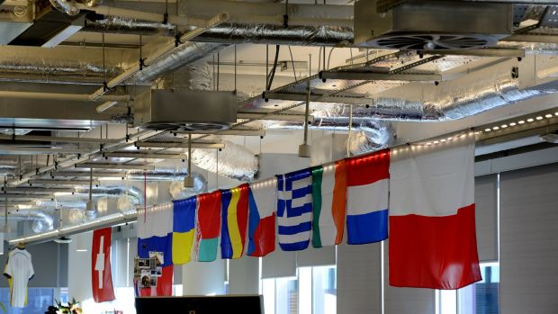 International flags at Facebook's Grand Canal Square office. Photograph: Cyril Byrne/The Irish Times