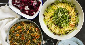 Oven baked beetroot served with garlic, onion seeds and yoghurt; quinoa with roasted butternut squash  and raw salad of kale with apple, leek and pecan. Photograph:  Emma Jervis