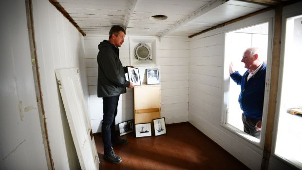 Joe O'Farrell (right) of the Shackleton Museum and Sven Habermann in the cabin of the polar exploration steamship 'Quest' in which explorer Ernest Shackleton died on January 5th, 1922. Photograph: Bryan O'Brien /The Irish Times