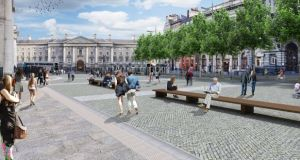 Architect images for the proposed College Green civic space: An Bord Pleanála has cancelled the hearing on the €10 million plaza project.