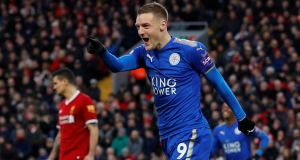 Jamie Vardy's return to Fleetwood may not happen due to injury when they face off in the FA Cup third round on Saturday. Photo: Getty Images