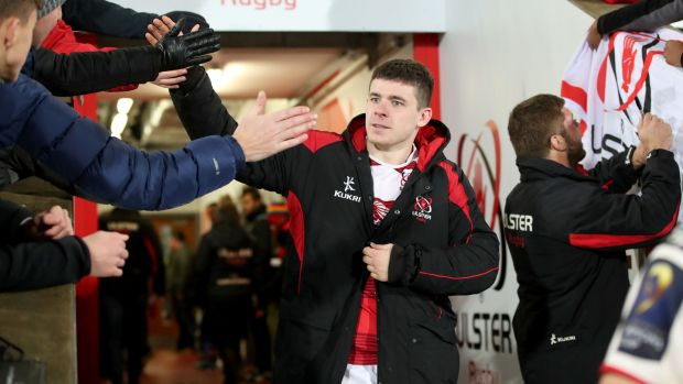 Nick Timoney celebrates the Champions Cup victory over Harlequins with Ulster fans at Kingspan Stadium last month. Photograph: Bryan Keane/Inpho