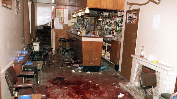 The interior of O'Toole's bar in Loughinisland, Co Down, the morning after the UVF shot dead six people in 1994.