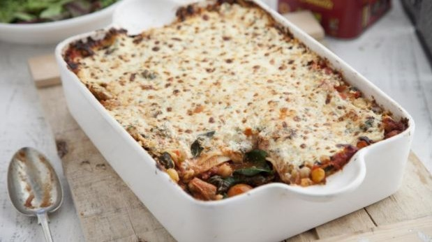 Spinach, Mediterranean vegetable, chickpea and smoked paprika lasagne
