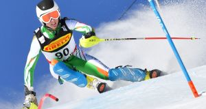 Ireland's Cormac Comerford competes in the first run of the men's slalom race at the 2017 FIS Alpine World Ski Championships in St Moritz. Photograph:  Dimitar Kilkoff/AFP/Getty