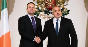 Taoiseach Leo Varadkar and Bulgarian prime minister Boiko Borisov during their press conference in Sofia on Friday. Photograph: Vassil Donev/EPA