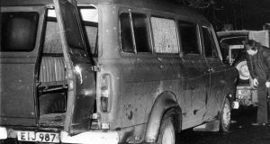 The bullet-riddled minibus in south Armagh where 10 protestant workmen were shot dead by IRA terrorists in 1976. Photograph: PA Wire