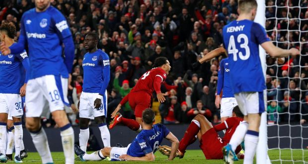 023a7f64930 Liverpool's Virgil van Dijk celebrates scoring their second goal as they  beat Everton in the FA