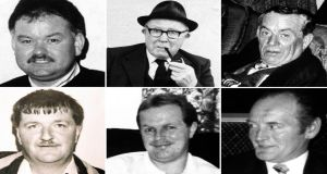 The six men killed in O'Toole's Bar in Loughinisland, Co Down, in 1994: (Top) Adrian Rogan (34), Barney Green (87), Don McCreanor (59); (bottom) Eamonn Byrne (39), Patsy O'Hare (34) and Malcolm Jenkinson (53).